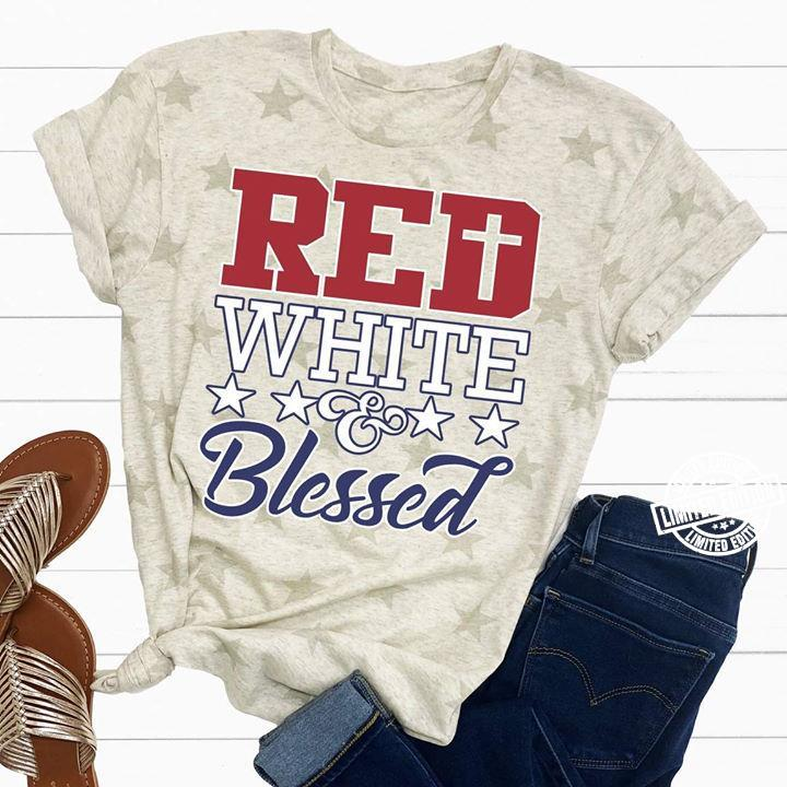 Red white blessed shirt