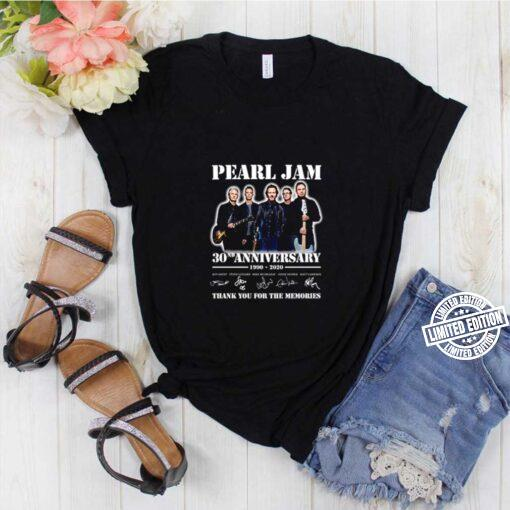 Thank you for the memories Pearl Jam 30nd Anniversary 1990 2020 signatures shirt